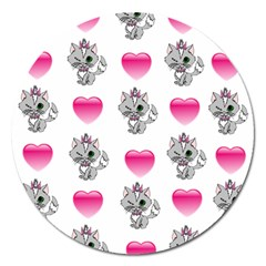 Evil Sweetheart Kitty Magnet 5  (round) by IIPhotographyAndDesigns
