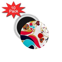 Retro Colorful Colors Splashes 1 75  Magnets (10 Pack)  by flipstylezdes