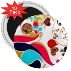 Retro Colorful Colors Splashes 3  Magnets (10 Pack)