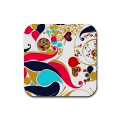 Retro Colorful Colors Splashes Rubber Coaster (square)  by flipstylezdes