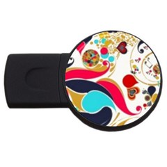 Retro Colorful Colors Splashes Usb Flash Drive Round (4 Gb)