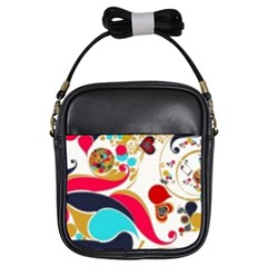 Retro Colorful Colors Splashes Girls Sling Bags