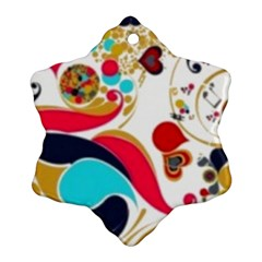 Retro Colorful Colors Splashes Snowflake Ornament (two Sides) by flipstylezdes