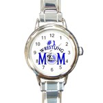 #1 WRESTLING MOM MOTHER ROUND ITALIAN CHARM WATCH