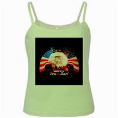 Independence Day, Eagle With Usa Flag Green Spaghetti Tank