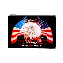 Independence Day, Eagle With Usa Flag Cosmetic Bag (large)