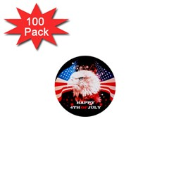 Independence Day, Eagle With Usa Flag 1  Mini Buttons (100 Pack)