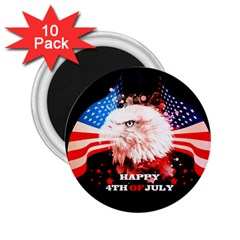 Independence Day, Eagle With Usa Flag 2 25  Magnets (10 Pack)