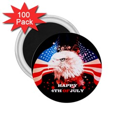 Independence Day, Eagle With Usa Flag 2 25  Magnets (100 Pack)