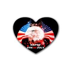 Independence Day, Eagle With Usa Flag Heart Coaster (4 Pack)
