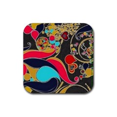 Retro Swirls In Black Rubber Coaster (square)  by flipstylezdes