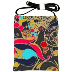 Retro Swirls In Black Shoulder Sling Bags by flipstylezdes