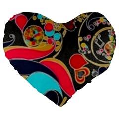 Retro Swirls In Black Large 19  Premium Flano Heart Shape Cushions by flipstylezdes