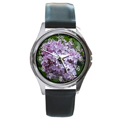 Lilac Bumble Bee Round Metal Watch
