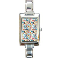 Funny Cute Colorful Cats Pattern Rectangle Italian Charm Watch