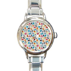 Funny Cute Colorful Cats Pattern Round Italian Charm Watch
