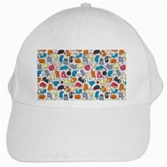 Funny Cute Colorful Cats Pattern White Cap