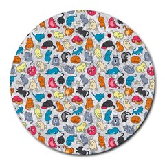 Funny Cute Colorful Cats Pattern Round Mousepads