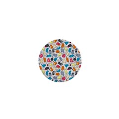 Funny Cute Colorful Cats Pattern 1  Mini Buttons