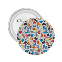 Funny Cute Colorful Cats Pattern 2 25  Buttons