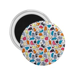 Funny Cute Colorful Cats Pattern 2 25  Magnets