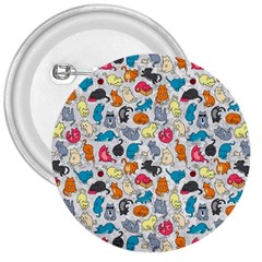 Funny Cute Colorful Cats Pattern 3  Buttons