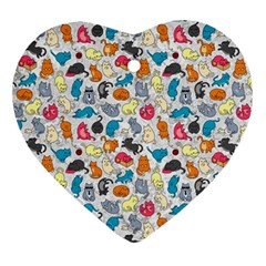Funny Cute Colorful Cats Pattern Ornament (heart)