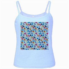 Funny Cute Colorful Cats Pattern Baby Blue Spaghetti Tank