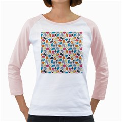 Funny Cute Colorful Cats Pattern Girly Raglans