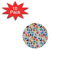 Funny Cute Colorful Cats Pattern 1  Mini Buttons (10 Pack)