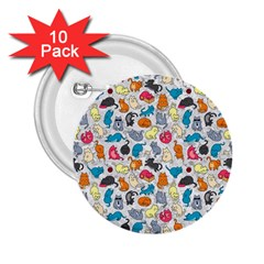 Funny Cute Colorful Cats Pattern 2 25  Buttons (10 Pack)