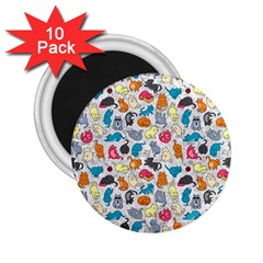 Funny Cute Colorful Cats Pattern 2 25  Magnets (10 Pack)