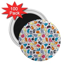 Funny Cute Colorful Cats Pattern 2 25  Magnets (100 Pack)