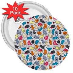 Funny Cute Colorful Cats Pattern 3  Buttons (10 Pack)