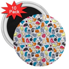 Funny Cute Colorful Cats Pattern 3  Magnets (10 Pack)