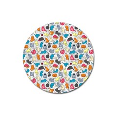 Funny Cute Colorful Cats Pattern Magnet 3  (round)