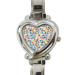 Funny Cute Colorful Cats Pattern Heart Italian Charm Watch