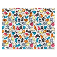 Funny Cute Colorful Cats Pattern Rectangular Jigsaw Puzzl