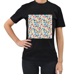 Funny Cute Colorful Cats Pattern Women s T Shirt (black) (two Sided)