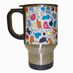 Funny Cute Colorful Cats Pattern Travel Mugs (white)