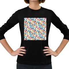 Funny Cute Colorful Cats Pattern Women s Long Sleeve Dark T Shirts