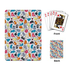Funny Cute Colorful Cats Pattern Playing Card