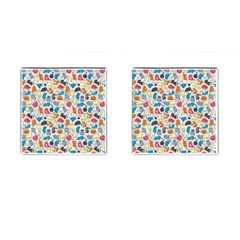 Funny Cute Colorful Cats Pattern Cufflinks (square)