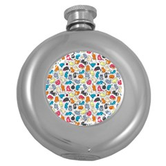 Funny Cute Colorful Cats Pattern Round Hip Flask (5 Oz)