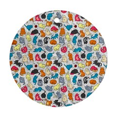 Funny Cute Colorful Cats Pattern Round Ornament (two Sides)