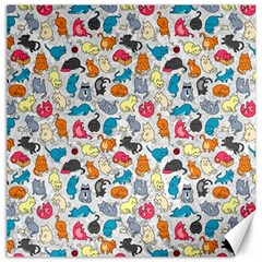 Funny Cute Colorful Cats Pattern Canvas 16  X 16