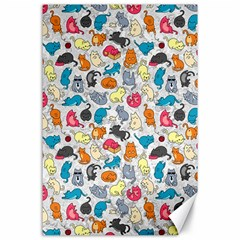Funny Cute Colorful Cats Pattern Canvas 24  X 36