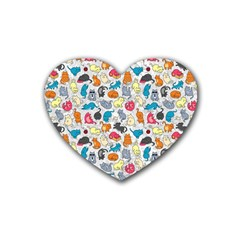 Funny Cute Colorful Cats Pattern Heart Coaster (4 Pack)