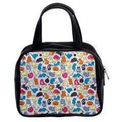 Funny Cute Colorful Cats Pattern Classic Handbags (2 Sides)