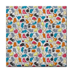 Funny Cute Colorful Cats Pattern Face Towel by EDDArt